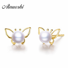 AINUOSHI 18K Yellow Gold Natural Cultured Freshwater Pearl Stud Earrings Cute Butterfly AAAAA Luster Round White Pearl Earrings