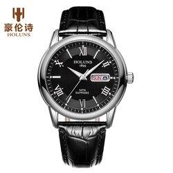 HOLUNS zegarki męskie Top marka luksusowe złota mężczyzna zegarka mody zegarek na co dzień skóra biznes automatyczne tydzień data zegarki kwarcowe dla mężczyźni Zegarki kwarcowe    -