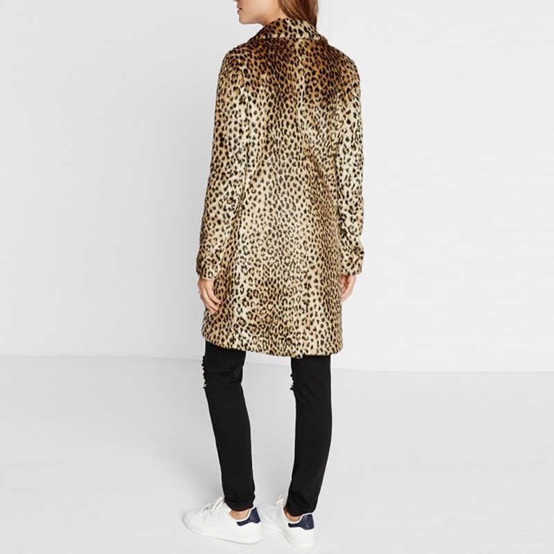 318ca4517ae2 ... Womens Faux Fur Print Leopard Long Coat Jacket Overcoat Windbreaker  Peacoat NEW ...