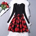 Nueva Impresión Floral Del Mini Vestido de Las Mujeres 2016 Otoño Del O-cuello Del Remiendo de Manga Larga fajas Una Línea de Más Tamaño vestido mujer W106