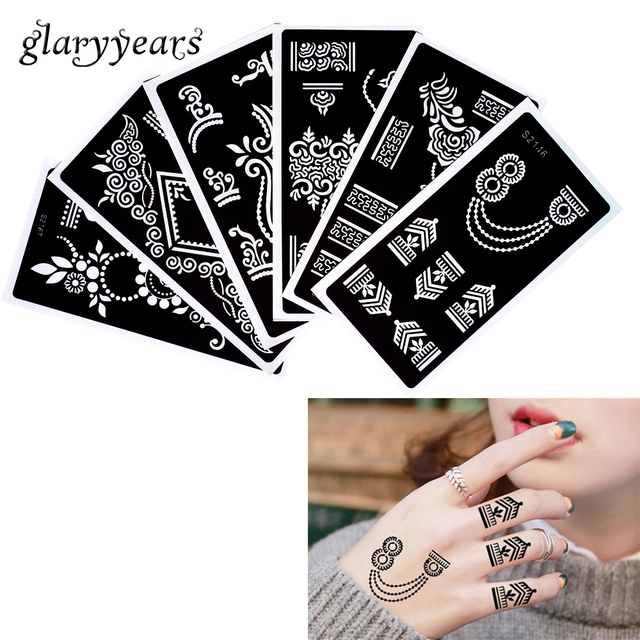 6 Pieces Template Henna Tattoo Stencil Bunga Gelang Desain
