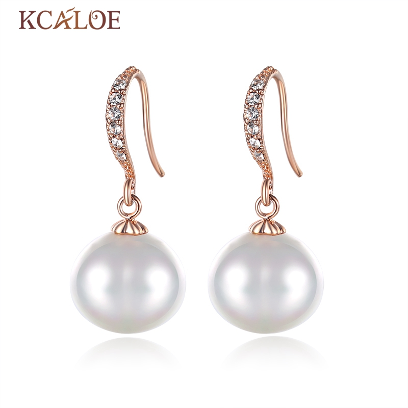 KCALOE Oval Pearl Earrings Real Natural Sea Shell Pearls Crystal Rhinestone Wedding Rose Gold Color Wedding Drop Earrings faux pearl rhinestoned oval drop earrings