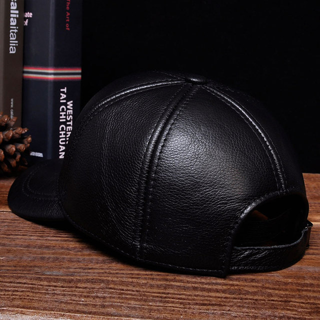HL125 2018 Brand new warm real cow leather caps hats Spring free shipping genuine leather baseball cap