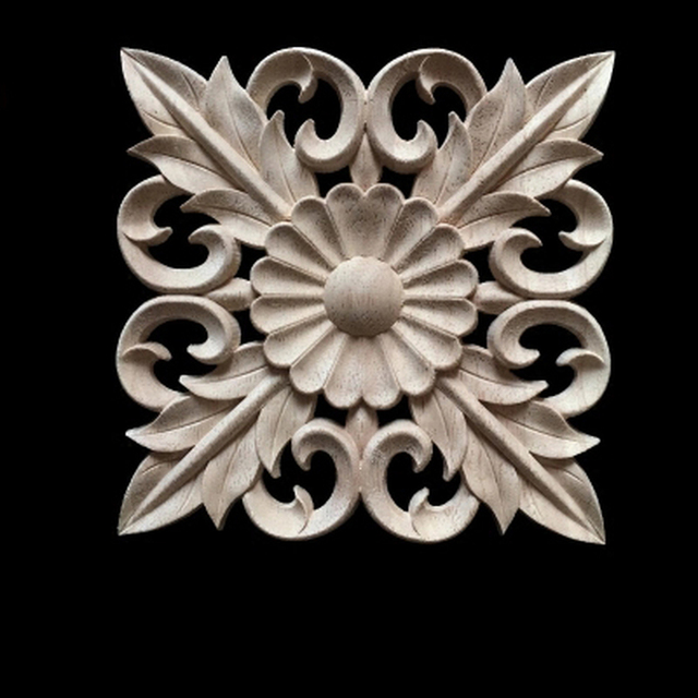 5PCS Natural Wood Appliques Square Flower Carving Decals Decorative Wooden  Mouldings For Cabinet Door Furniture Decor