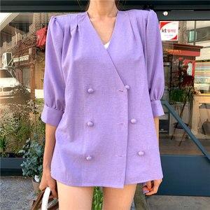 Image 4 - HziriP Sommer Chic 2020 Korea Einfache OL Frauen Büro Damen Mode Lose V ausschnitt Zweireiher Blazer Lose Lila Blazer