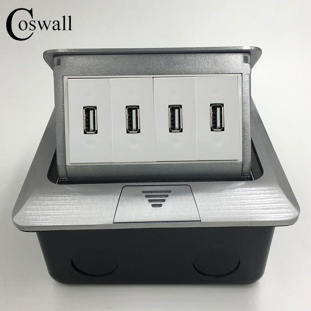 Manufacturer All Aluminum Panel Pop Up Floor Socket 4 Dual USB Charging...