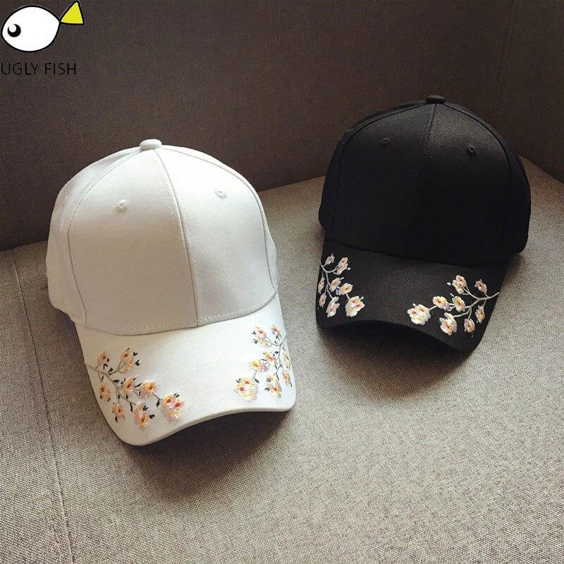 cap women black pink baseball cap women black flowers white caps embroidery