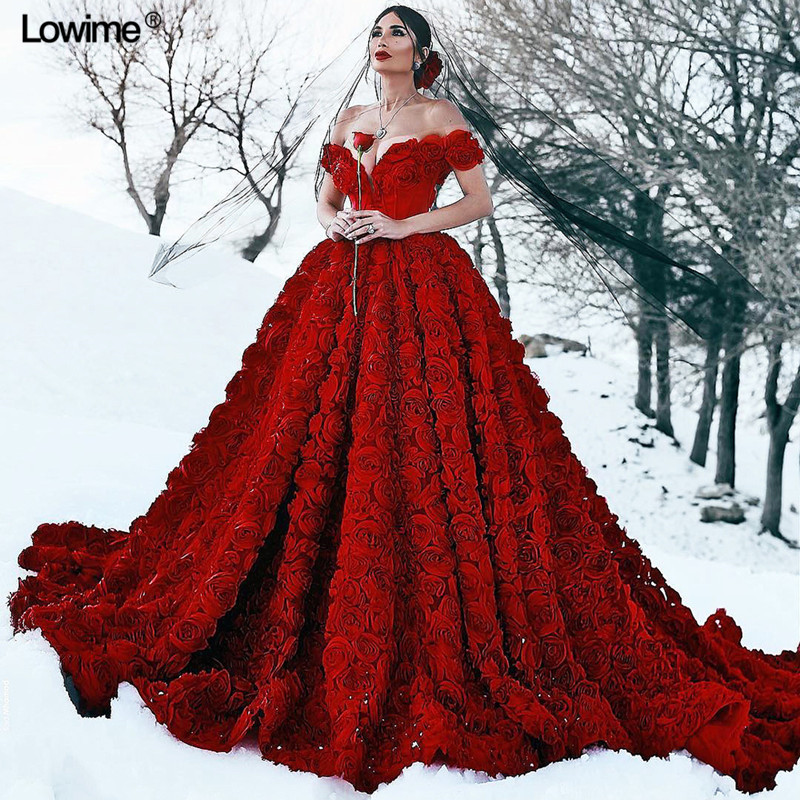 Red Wedding Gowns 2014: Custom Made A Line Evening Dresses Red 3D Rosettes Off The