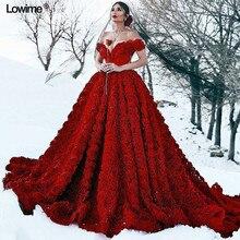 Luksusowy czerwony Plus rozmiar suknie wieczorowe 2019 Off ramię Backless Sexy wieczór balu Party Celebrity suknie z 3D Rose kwiaty