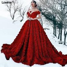 Luxo Vermelho Plus Size Vestidos de Noite 2019 Off Ombro Backless Sexy Evening Prom vestido de Festa Vestidos de Celebridades Com 3D Flores Rosa