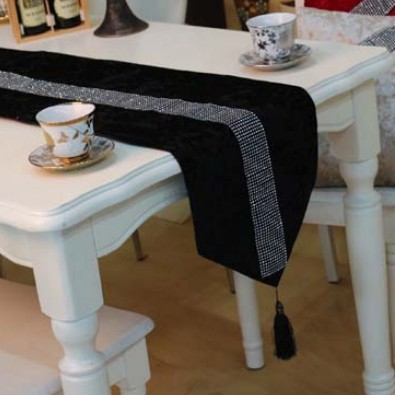 Simpleu0026Fashion Quality Black Color Velvet Small Rhinestone Strip Table  Runner Tablecloth/Bed Flag Customizing Accepted ...
