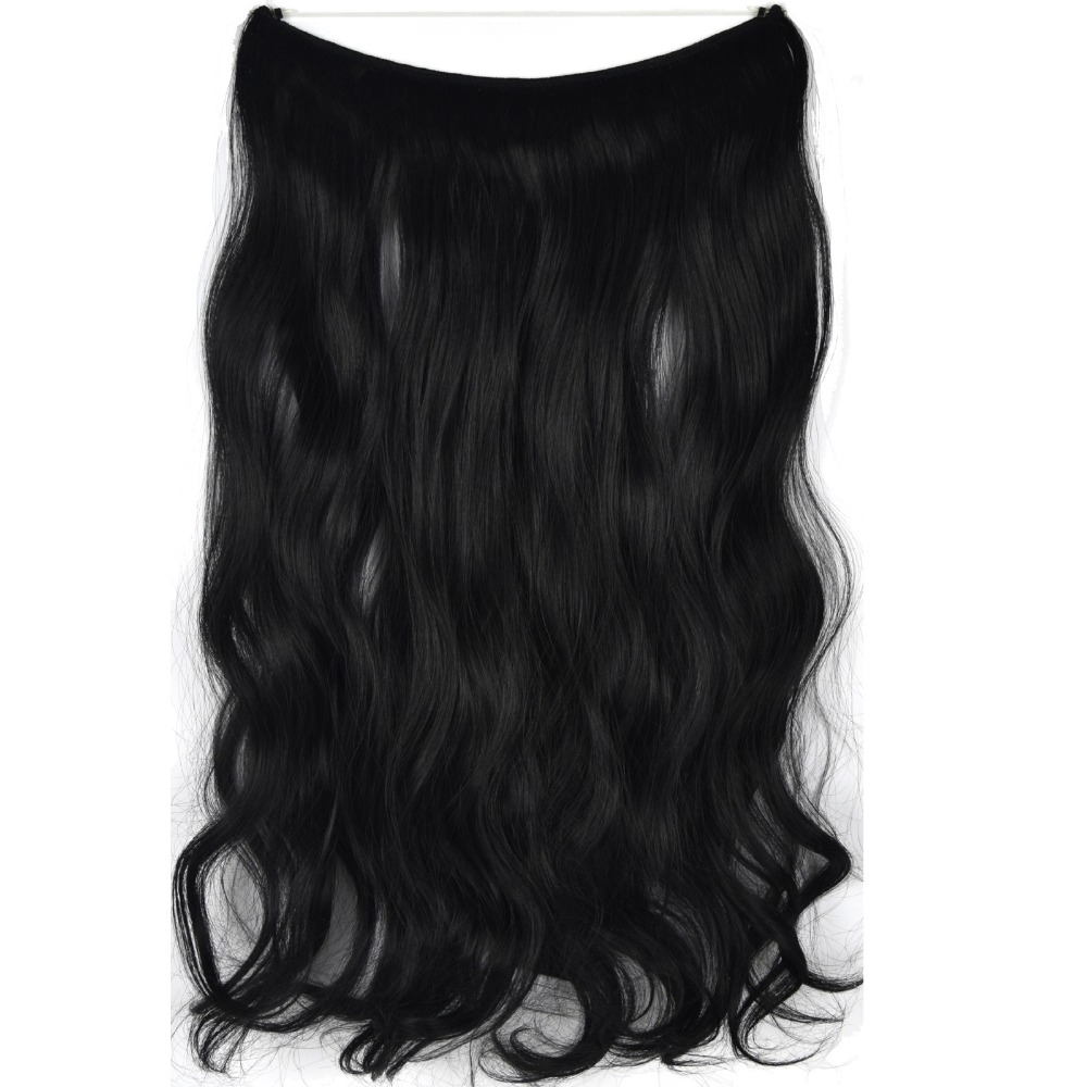 TOPREETY Heat Resistant B5 Synthetic Fiber 22 55cm 100gr Wavy Elasticity Wire Halo Hair Extensions 30 Colors Available