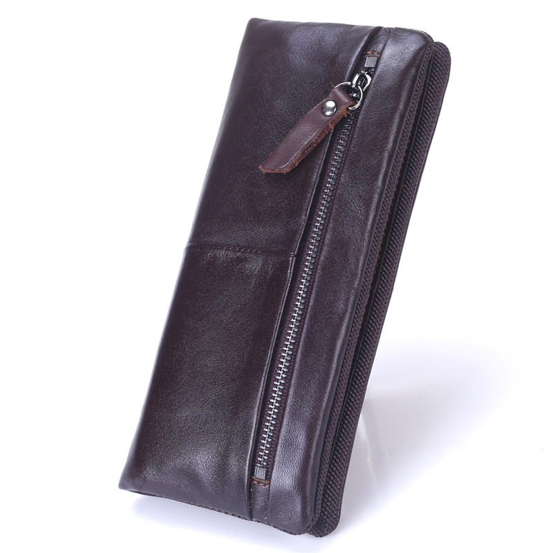 Men Wallet Cowhide Genuine Leather Purse Money Clutch Coin Holder Credit Card Holder Long Zipper Designer 2017 Male Phone Wallet
