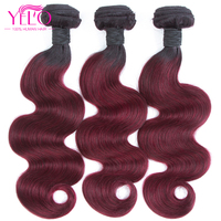 Yelo Hair Pre colored Ombre Brazilian Body Wave Hair 1B 99J/Burgundy Two Tone Human Hair Bundles 3PC Non Remy Hair Free Shipping