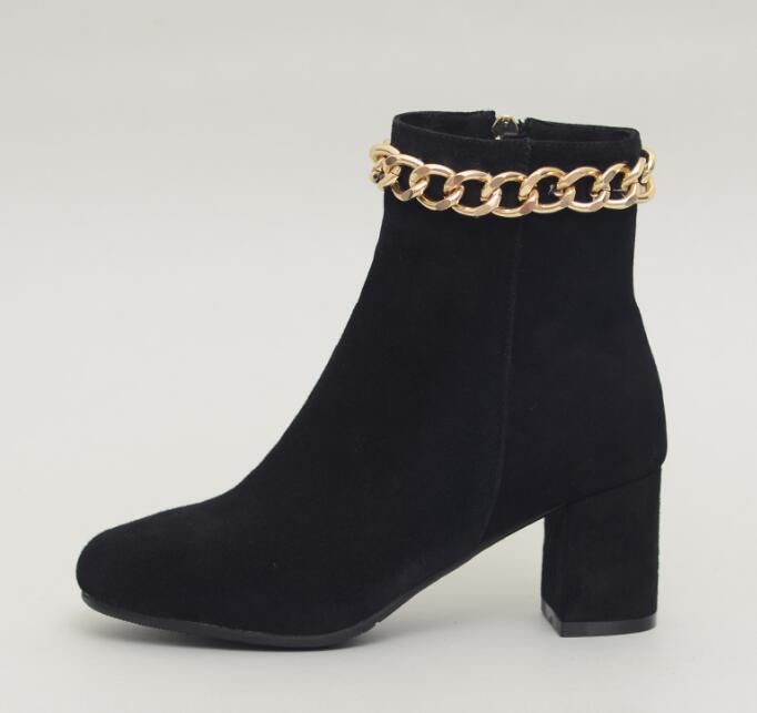 Concise Style Black Suede Leather Women Round Toe Ankle Boots Gold Chain Around Ladies Square Heel Boots Zipper Side Knight Boot 2018 new suede leather patchwork women flodover mid calf boots sexy pointy toe ladies blade heel boots zipper knight boots