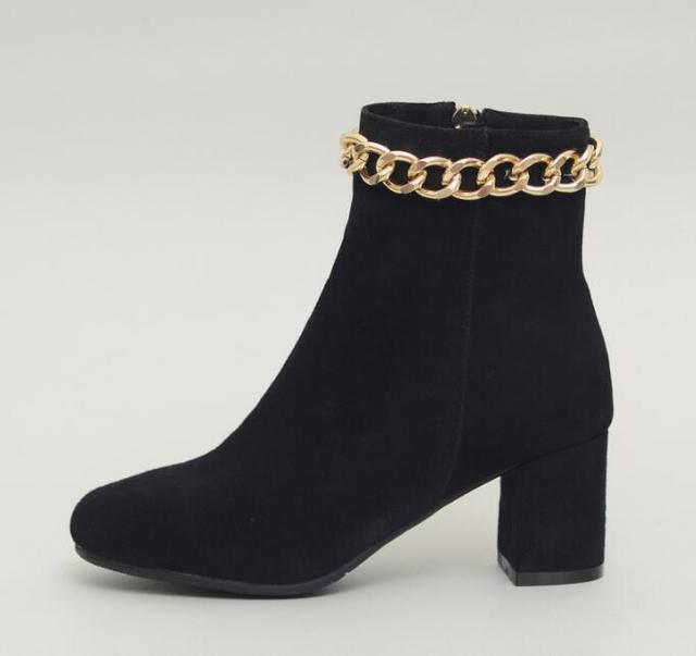 00df62f23 Concise Style Black Suede Leather Women Round Toe Ankle Boots Gold Chain  Around Ladies Square Heel Boots Zipper Side Knight Boot