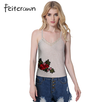 Feiterawn Summer Women Knitted Camisole Spaghetti Strap Crop Tops Sexy Short Tank Tops Femme Casual Tops