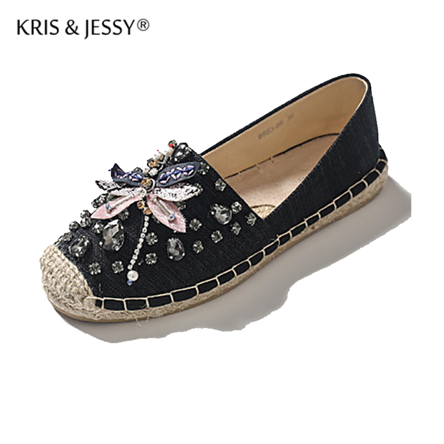 9a86bb5eecd US $30.0 |Kris & Jessy 2017 Spring Autumn Women Loafer Round Toe  Espadrilles Pearl Comfortable Hemp Bottom Women Shoes Bee Zapato Mujer-in  Women's ...