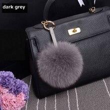 15cm Luxury Fluffy Real Fox Fur Ball Pom Pom Plush Size Genuine Fur Keychain Metal Ring Pendant Bag Charm Fo-K010-dark grey