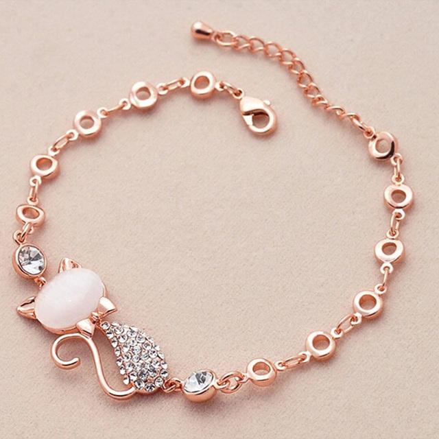 Rose Gold Cat Decorated Bracelet