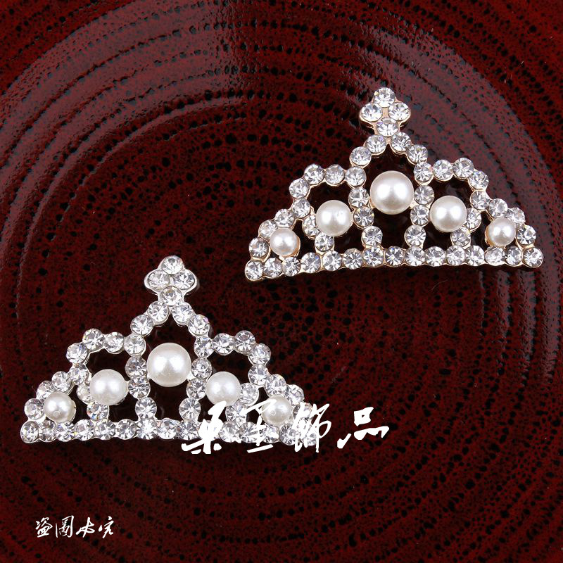 (20pcs/lot) 2Colors Handmade Bling Cute Alloy Rhinestone Flatback Pearl Crown Buttons For Baby Princess Hair/Dress Embellishment