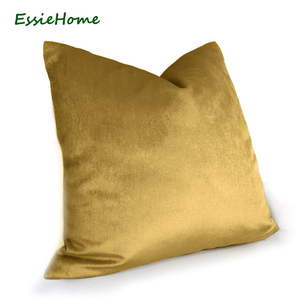 ESSIE HOME Luxury Glossy Silk Velvet Cushion Pillow Bronze Gold Velvet Cushion Cover Pillow Case Lumbar Pillow Case Velvet in Cushion Cover from Home Garden