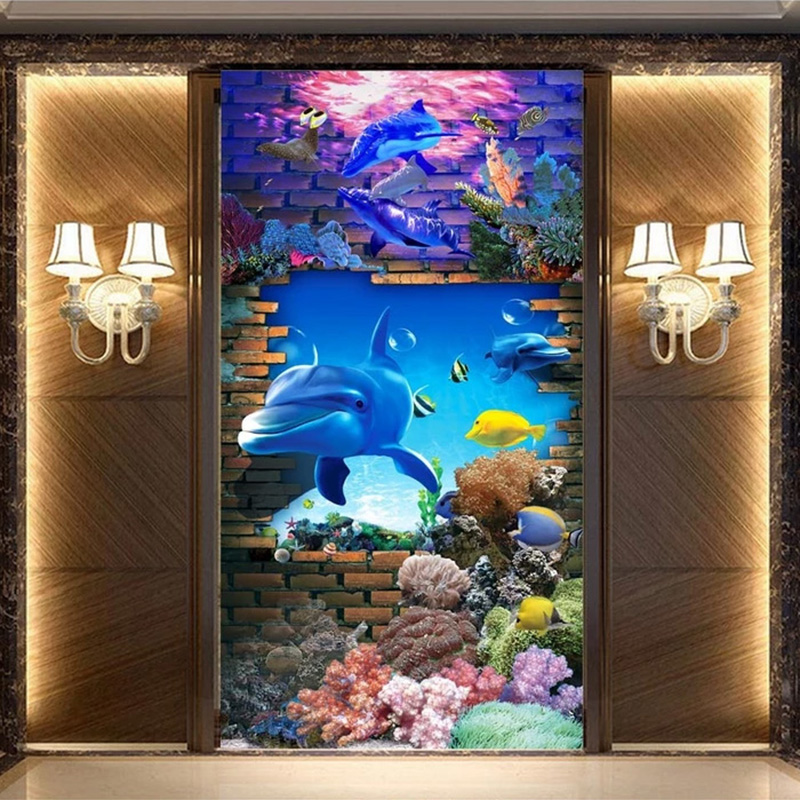 Custom Any Size Murals Wallpaper 3D Cartoon Dolphin Brick Photo Wall Papers Living Room Hotel Entrance Children's Bedroom Decor