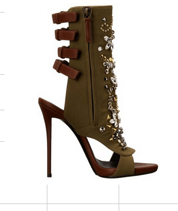 2017 Summer newest women shoes sexy high heel sandals crystal decoration slingbacks open toe women studded Sandals solid khaki