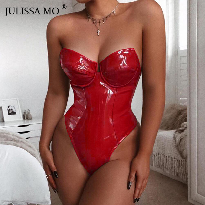 JULISSA MO Red PU Leather Sexy Strapless Bodysuit Women Sleeveless Backless Jumpsuit Women Rompers Black Casual Body Mujer Femme