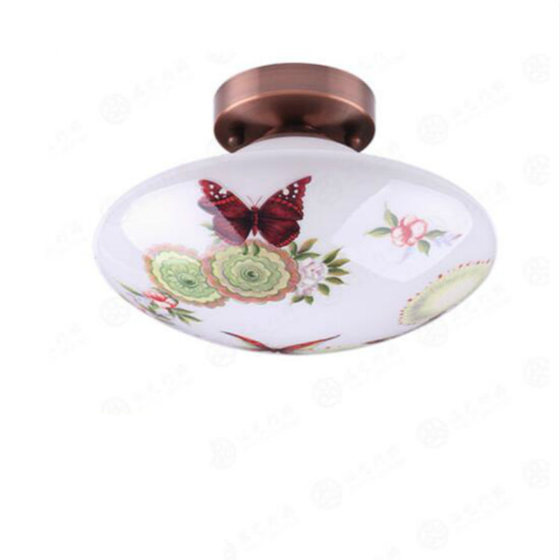 Classical European Pastoral Hand-painted Butterfly Art Glass Led E27 Ceiling Light For Living Room Hallway Balcony Aisle 2046Classical European Pastoral Hand-painted Butterfly Art Glass Led E27 Ceiling Light For Living Room Hallway Balcony Aisle 2046