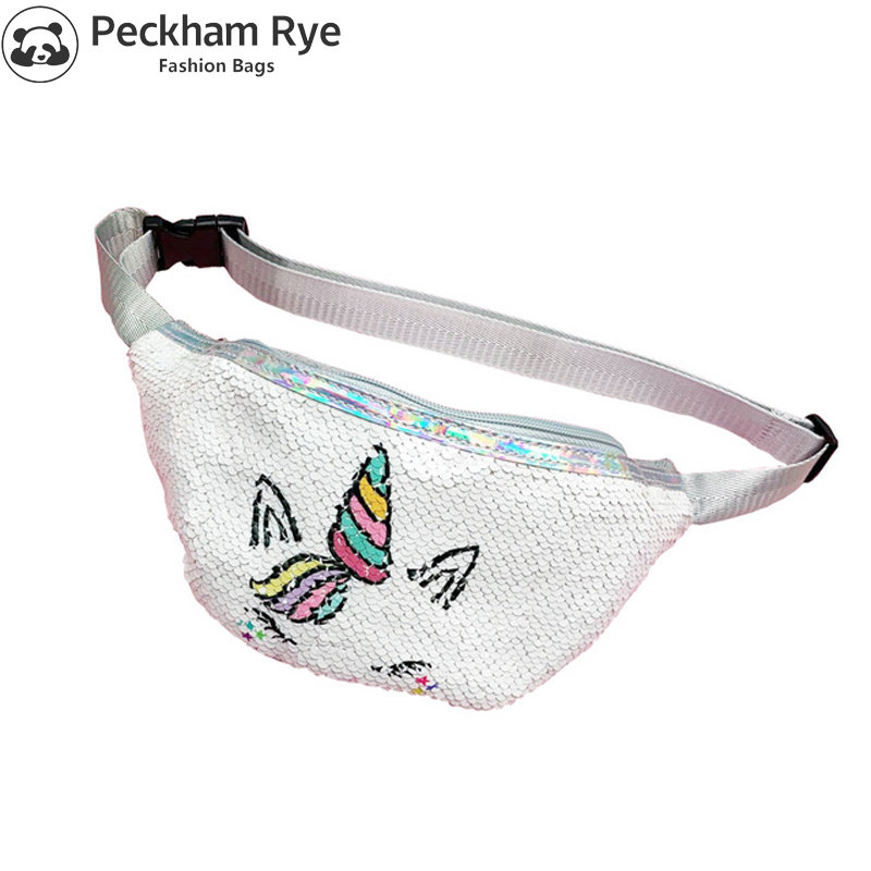 Unicorn Waist Bag Kids Fanny Pack For Women Fashion Sequins Girls Purse Shoulder Belt Bags Kids Waist Packs Cartoon Phone Pouch