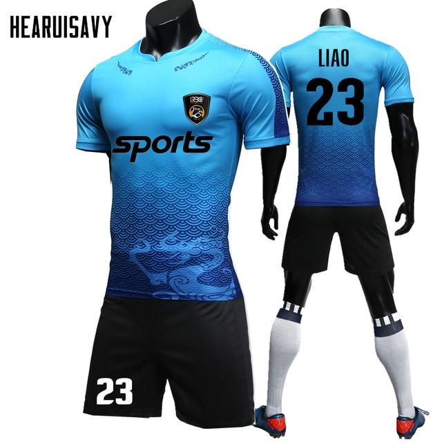 d6078788e Custom Adult 18 19 Soccer Jerseys Set Uniforms Football Clothes Kit High  Quality Printing Football Shirt Tracksuit