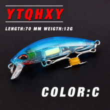 2017 Model Crank Sinking Minnow Fishing Lure 70mm 12g Hand Artificial Luminous Crankbaits Sea Pike fishing tackle WQ90
