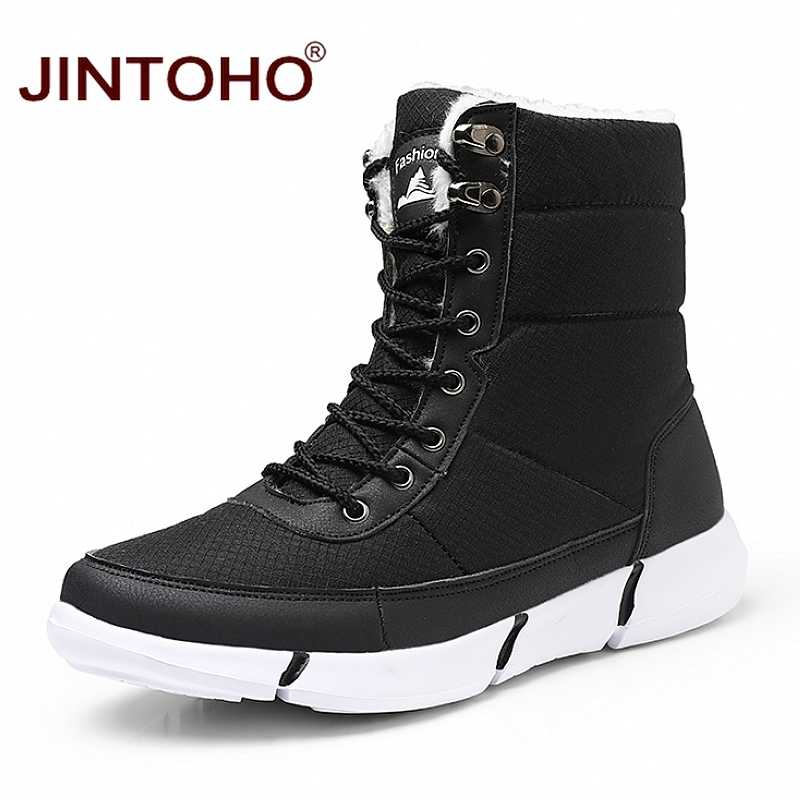 JINTOHO Mode Winter Snowboots Warm Winter Schoenen Waterdicht Sneeuw Schoenen Heren Winter Sneakers Mid-Kalf Casual Mens laarzen