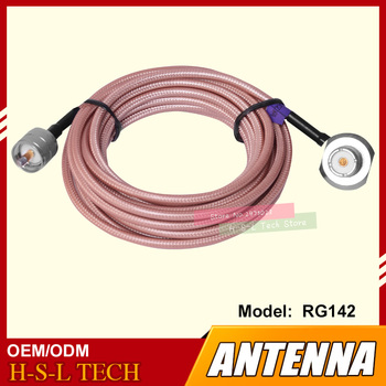 free ship 10m 20m teflon rf coaxial cable rg142 od 5mm cable connector 50ohm m17 60 shield cable Teflon Antenna Connector Extend Cable 5M Feeder Cable High Screen Clip Side Line For Mobile Car Walkie Talkie CB Coaxial Cable