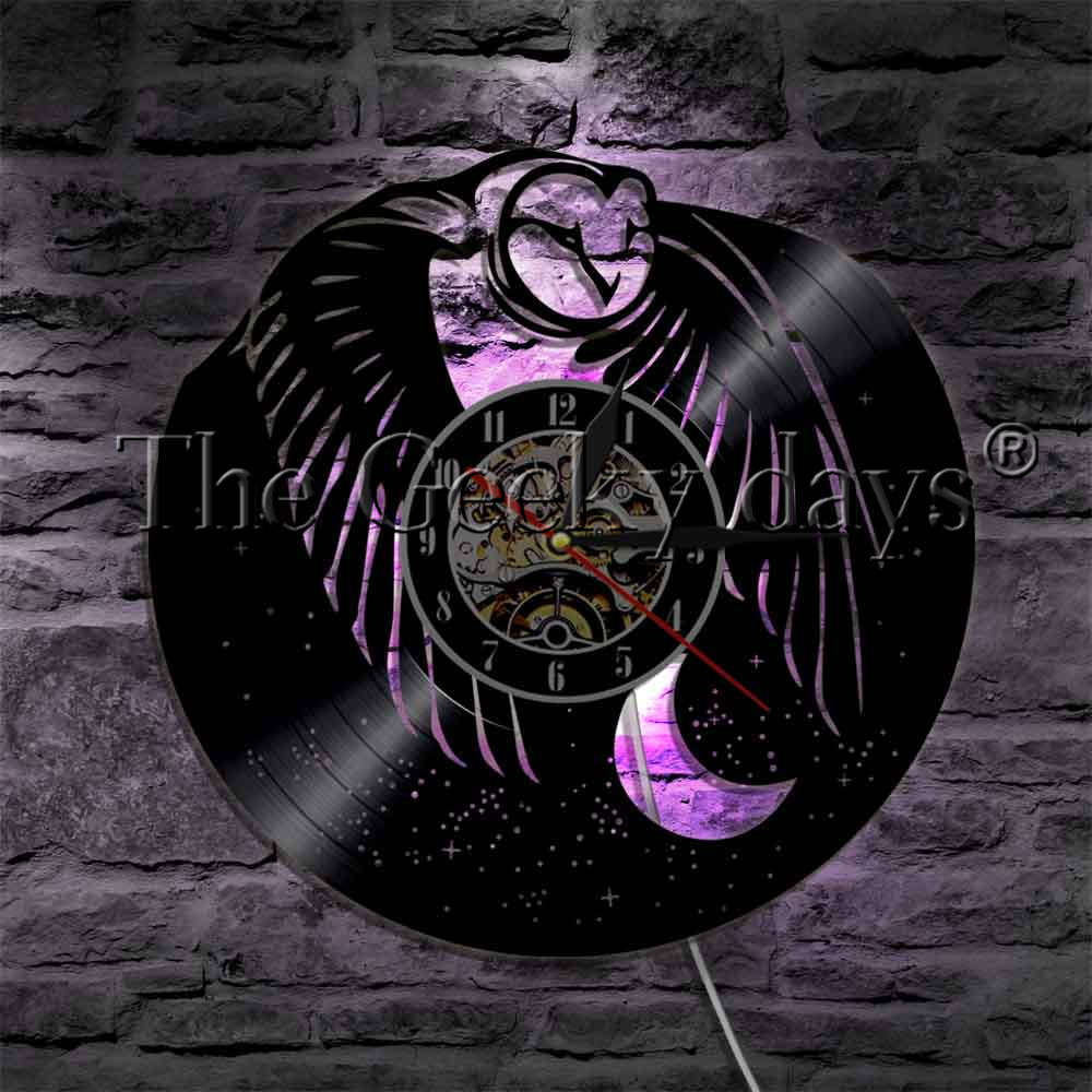 1piece Moon And Owl Vinyl Record Wall Clock With Led Illumination Bedroom Night Light Flying Bird Animal Designed Lamp Led Lamps Led Indoor Wall Lamps