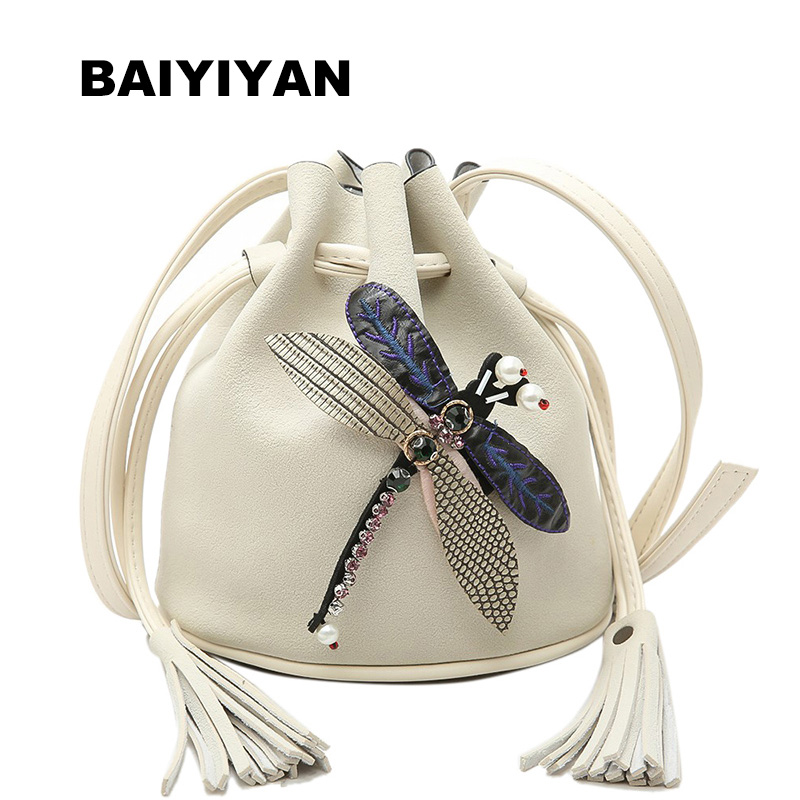 New arrival fashion design PU leather women handbag shoulder bag Euramerican Pop women bag Bucket bag ornamented with dragonfly