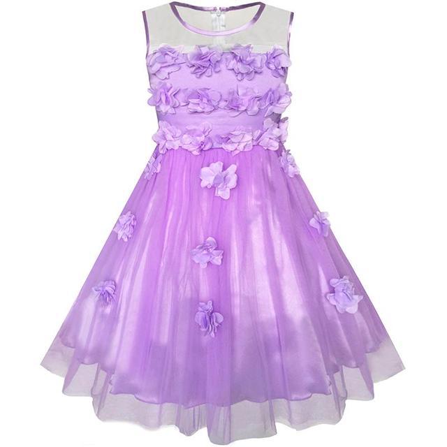 d2fff5850 Girls Dress Yellow Dimensional Flower Bridesmaid Wedding Dress 2018 Summer  Princess Party Dresses Kids Clothes Size 5-12 Pageant