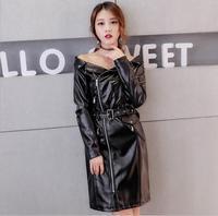 2018 autumn leaked shoulder slash neck zipper up pu leather dress imitation sheer leather motor jacket PU with belt r556