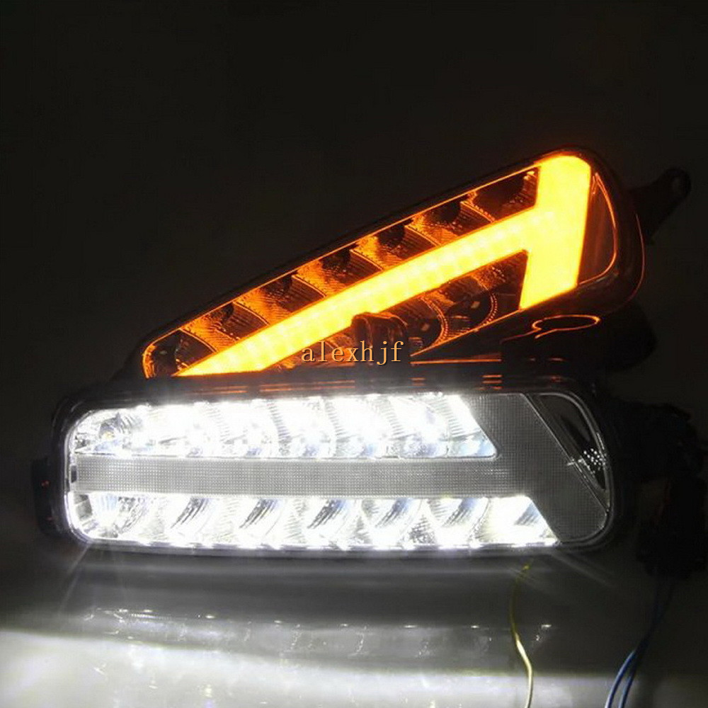 July King LED Daytime Running Lights DRL Case For Ford Focus IV 2015~ON, Front Bumper Fog Lamp With Yellow Turn Signal Lights ijdm amber yellow error free 2835 led 1156 p21w led bulbs for car front or rear turn signal lights daytime running lights