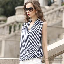 S – XXL Summer new 2015 fashion women v-neck sleeveless striped chiffon shirt office uniform shirts loose chiffon blouse D3780