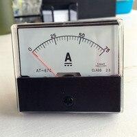 Стрелками, аналоговый амперы Панель метр амперметр тока DC 0-75A 75A с шунтом Бесплатная доставка