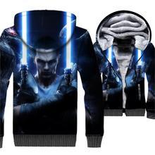 man's sweatshirts 2019 winter plus loose thick tracksuits fashion star wars 3D print jackets coats men wool liner hip-hop jacket цена и фото