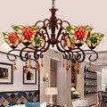 Tiffany Flesh кантри цветы витражное стекло подвесной светильник E27 110-240 В цепочка подвесные светильники для дома гостиная столовая