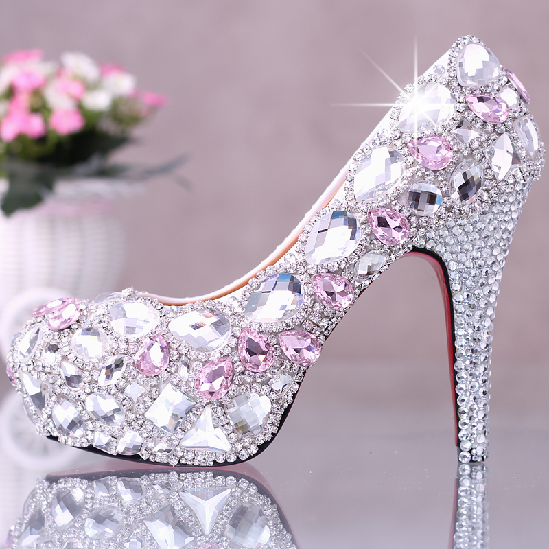 2016 White Crystal High Heels Bride Shoes Glass Slipper 14cm Shallow ...