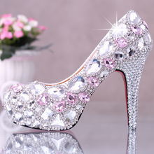 2016 White Crystal High Heels Bride Shoes Glass Slipper 14cm Shallow Mouth Diamond Wedding Shoes Head Dress Shoes Women's Shoes