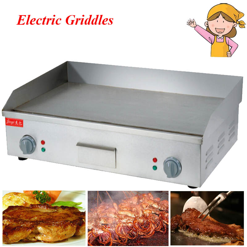 brand new 1pc 220v110v 4400w stainless steel flat grooved electric griddles fried pans - Electric Griddles