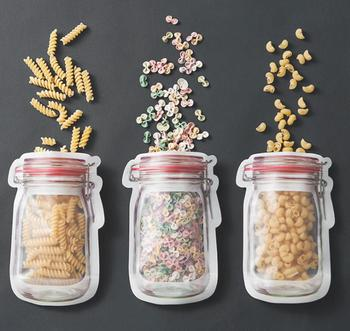 Wholesale Mason Jar Shaped Food Container Plastic Bag Clear Mason Bottle Modeling Zippers Storage Snacks Plastic Box SN1206