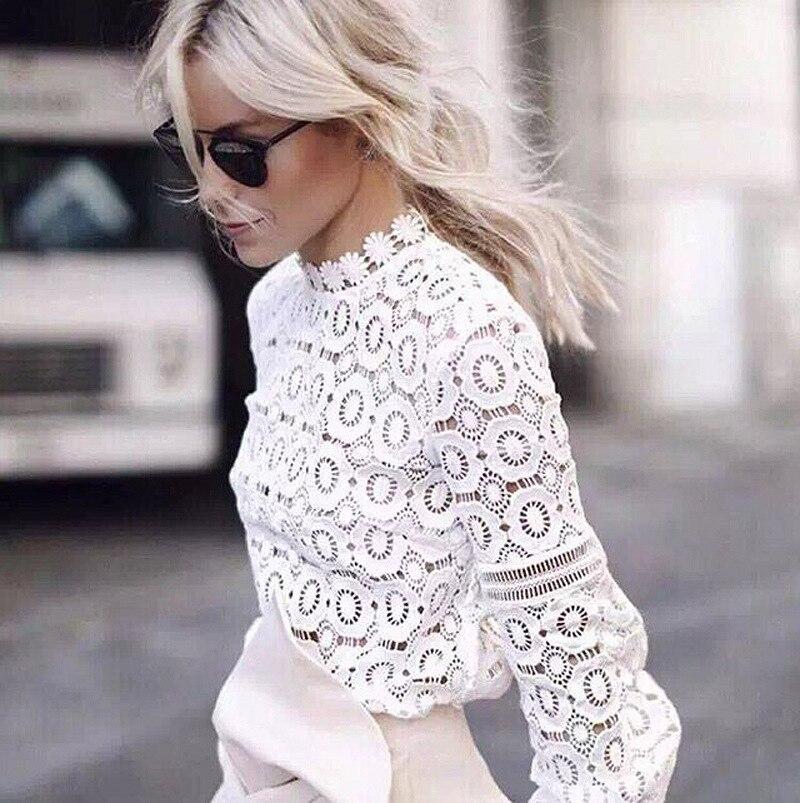Style 2018 autumn fashion shirt chiffon o-neck casual slim sheath sexy solid lace lantern sleeve hollow out  female shirt