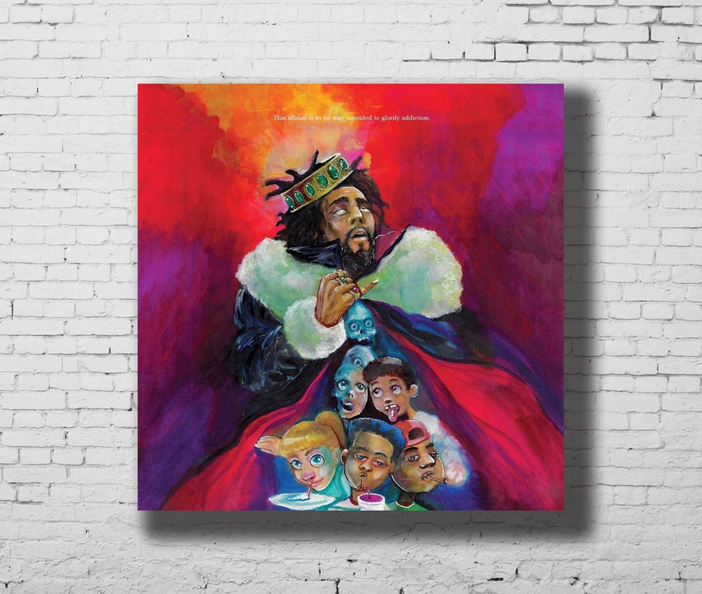 US $5 83 13% OFF|Art Print POSTER J Cole K O D Album Cover American Rapper  Home Decoration Hot Wall Canvas 16x16 24x24 30x30inch G 352-in Painting &